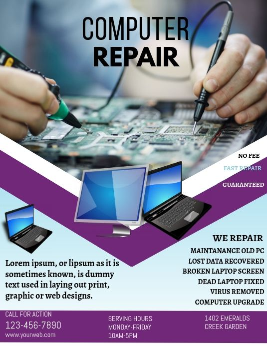 Computer Repair Flyer Design Computer Repair Computer Repair Services Phone Repair