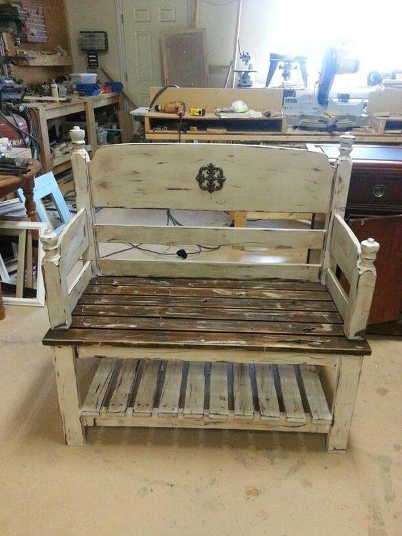 Headboard bench love storage shelf benchs pinterest for Pallet headboard with shelves