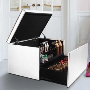 Idmarket Coffre Rangement Banquette Luxe Blanc Special Chaussures Coffre De Rangement Banquette Coffre