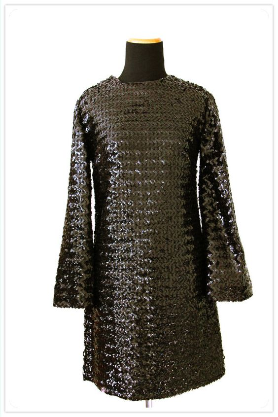 vintage 70's 80's 90's black sequin bell sleeve party dress by jebraa, $42.00