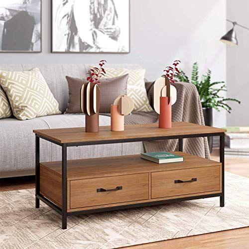 Homecho Table Basse Avec 2 Tiroires Bidirectionnel Table De Salon Style Industriel De Bois Et Metal Meu Table De Salon Table Basse Tiroir Table Basse Rangement