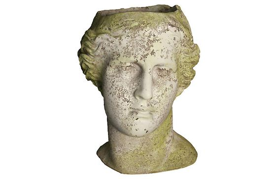 "14"" Venus Head Planter, White Moss - Outdoor Essentials - Outdoor 