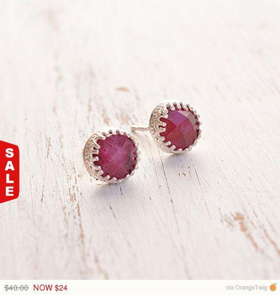Sale  40% off Silver ruby earringsruby earringsJuly by Avnis
