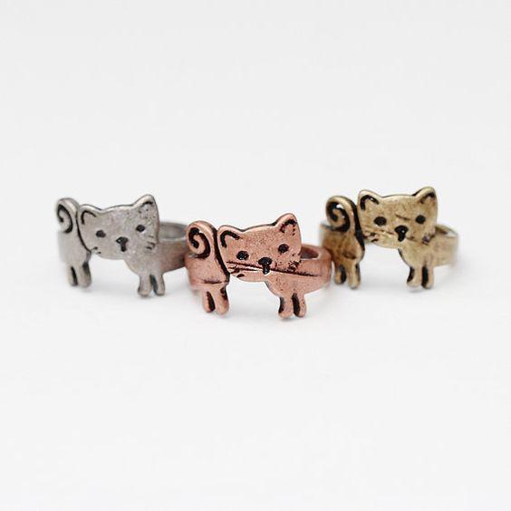Einfache Antik fertig Baby Katze Kätzchen Band, antike Rhodium oder Messing oder Rose Gold beendet, Ring