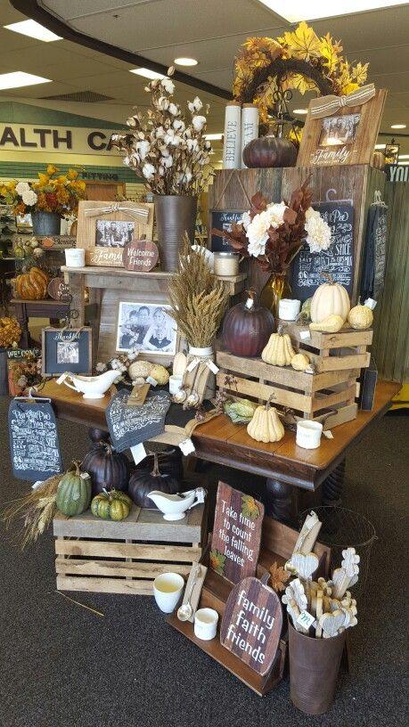 Fall store displays fall and store displays on pinterest for Retail store setup ideas