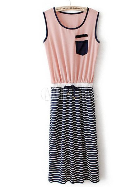 My grandma. --Pink, black and white striped dress