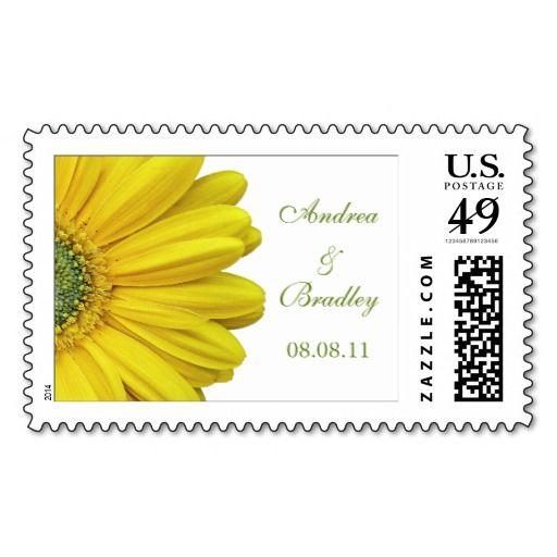 Yellow Gerbera Daisy Monogram Wedding Postage