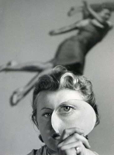 Pierre Boucher, Jeanine Prévert with Magnifying Glass, 1938