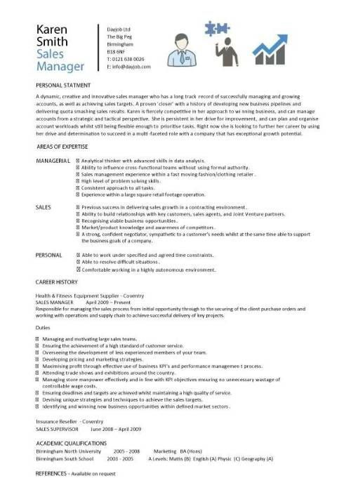 Sales Manager Cv Example Free Cv Template Sales Management