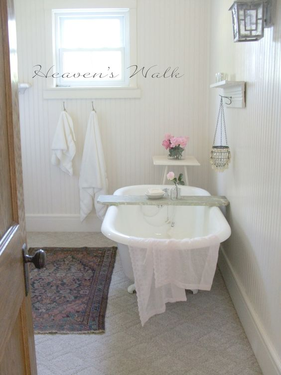 Heaven's Walk: Boho Bliss Bathroom.  What a great idea for a reading table in the tub!