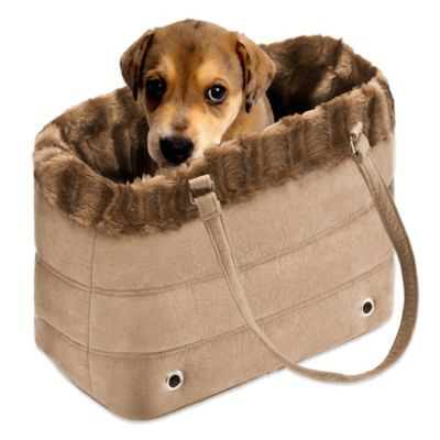 $19.99  Fur Trimmed Pet Carrier in Brown - BedBathandBeyond.com