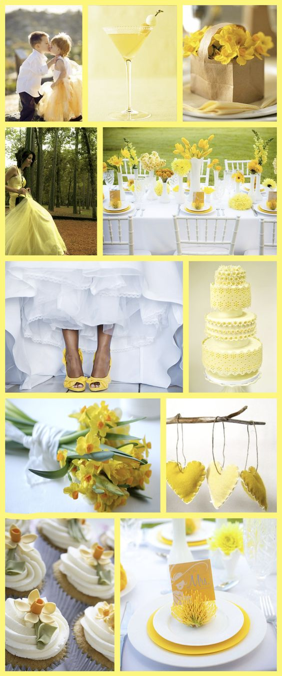 Yellow daffodil wedding theme. I love yellow and will definitely have yellow shoes :D