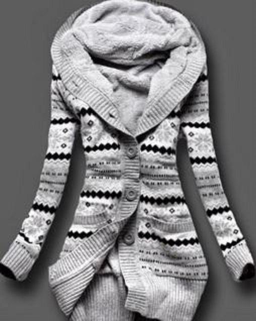 Grey, Black and White Stripe Stylish Hooded Long Sleeve Geometric Single,Breasted Womens Sweater Cardigan