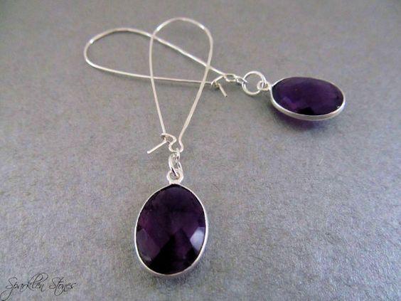 Purple Gemstone Earrings Amethyst Earrings by SparklenStones, $77.00