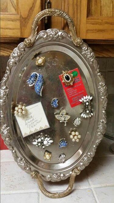 Repurposed silver tray with old jewelry made into magnets for a Message board #jewelryvintageantique
