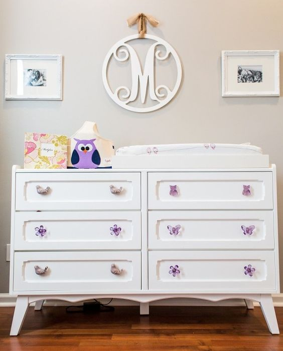 White Dresser with Fun, Whimsical Purple Knobs - #nursery: Wall Colors