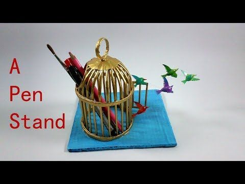 A Newspaper Cage As Pen Stand Based On Freedom Theme Youtube Paper Crafts For Kids Newspaper Crafts Waste Paper