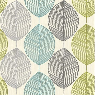 Retro Leaf Teal/Green (408207) - Arthouse Wallpapers - A retro leaf motif design drawn in fine lines on subtle paint wash effect background. Shown in teal and lime green and silver greys on cream. Please request sample for true colour match.