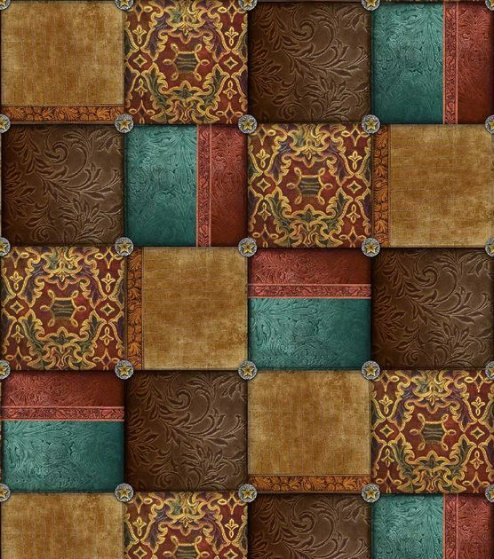 Western Fabric- Western Patchwork Cotton: