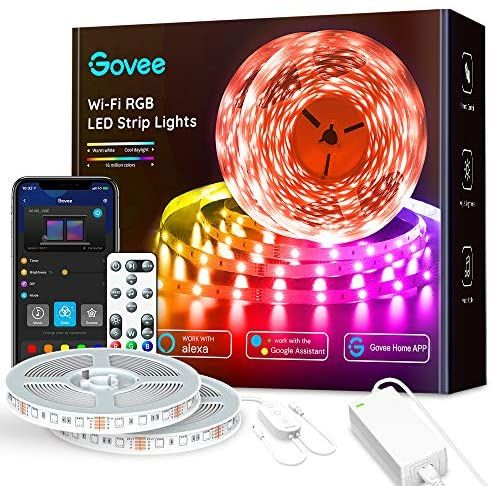65 6ft Alexa Led Strip Lights Govee Smart Wifi Rgb Rope Light Works With Alexa Google Assistant Remote App Control Lighting Kit Music Sync Color Changing Lig Led Strip Lighting Color Changing
