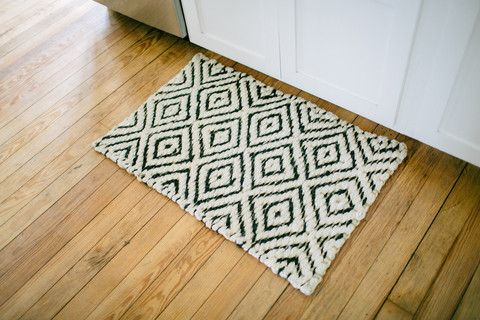 Black And Cream Diamond Rug | The Magnolia Market As Seen In Joanna Gainesu0027  Kitchen   Perfect For The Kitchen Or Entryway! | Home Goods | Pinterest |  Joanna ...