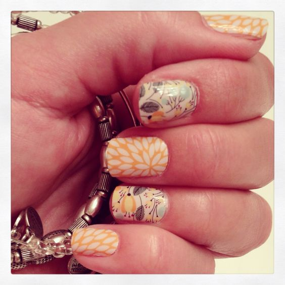 Jamberry Nails Sunny Lotus & Sweet Whimsy ~ a perfect pair!  Order at www.justjamberrys.jamberrynails.net Justine Scanlon, Independent Jamberry Nails Consultant #sweetwhimsyJN #sunnylotusJN