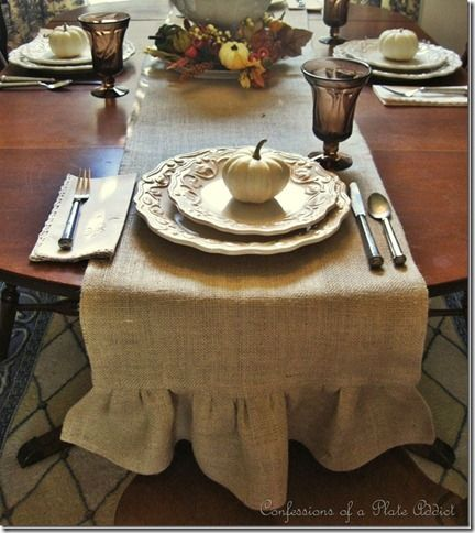 DIY ruffled burlap table runner