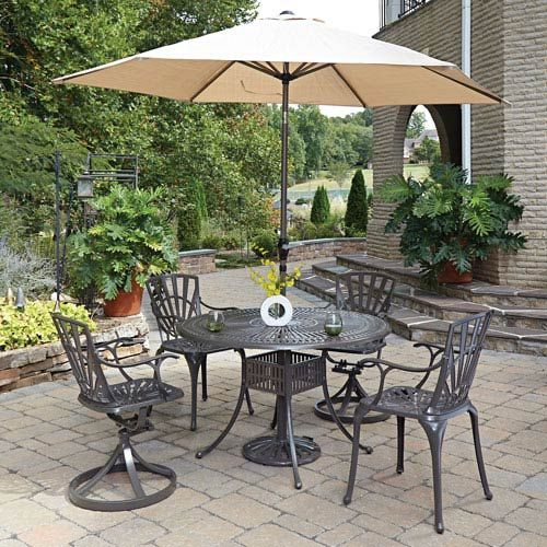Home Styles Furniture Largo Taupe 48 5 Inch 5 Piece Outdoor Dining