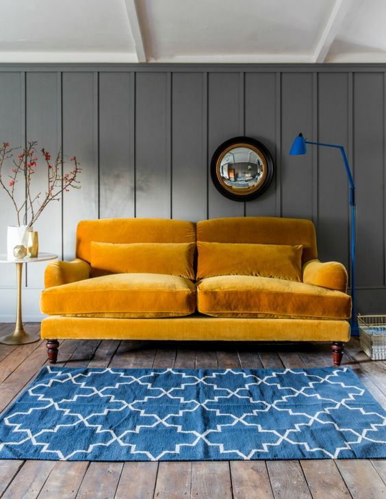 Mustard Velvet Three-Seater Sofa