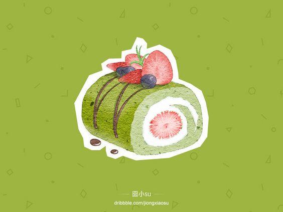 手绘甜品@菟小乐采集到美食(67图)_花瓣