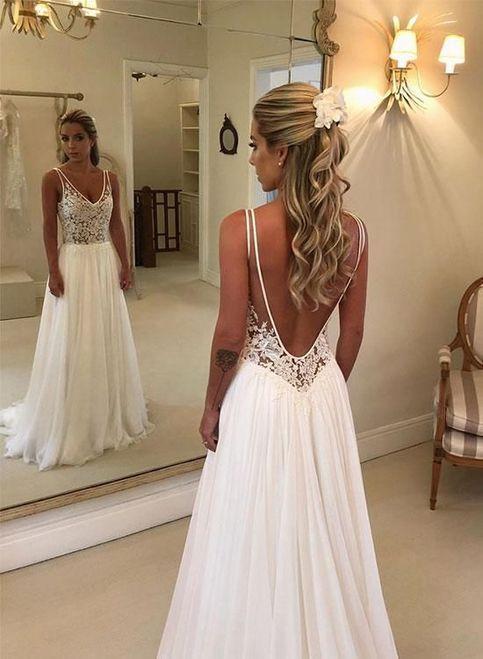 Romantic Wedding Dress Chiffon Wedding Dress Backless Wedding Dress A Line Wedding Dress W137 From Babystyle Wedding Dresses Romantic Chiffon Wedding Dress Backless Wedding Dress