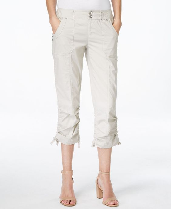 INC International Concepts Petite Ruched-Leg Cargo Capri Pants ...
