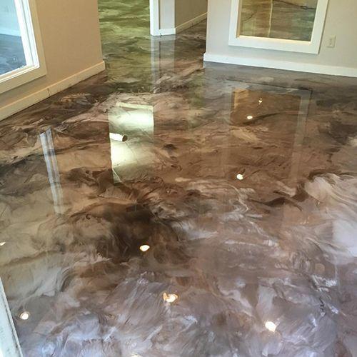 Elite Concrete Coating And Polishing Offers Metallic Epoxy Coating Services For Concrete Floors In All Hom Metallic Epoxy Floor Epoxy Floor Coating Epoxy Floor