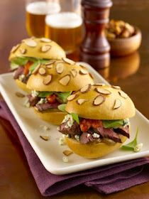 Grilled Skirt Steak and Maytag Blue Cheese Sliders with Smoked Almond ...