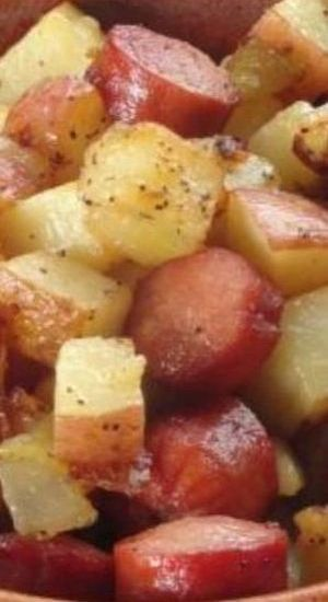 Simple Hot Dog and Potato Hash