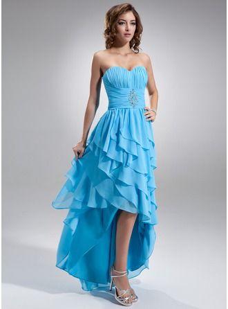 Vestidos princesa/ Formato A Coração Assimétrico De chiffon Vestido de baile com Bordado Babados em cascata