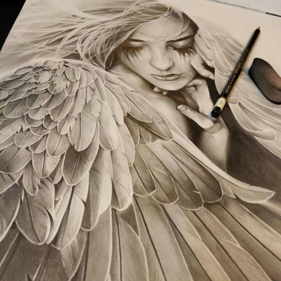 Angel drawing...this is stunning. Would love a tattoo like this ...