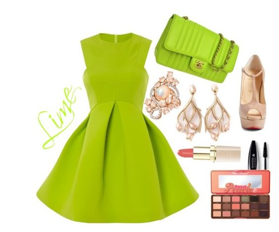"""""""Lime Dress"""" by anabritt on Polyvore featuring moda, Chanel, Christian Louboutin, Shaun Leane, LE VIAN, Too Faced Cosmetics e Lancôme"""