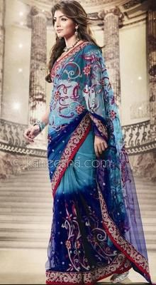 Enthralling Blue  Embroidered Net Saree