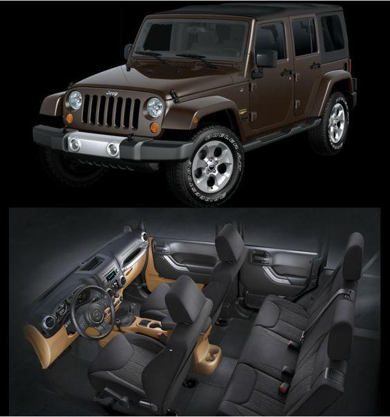 2013 Jeep Wrangler Unlimited Sahara Rugged Brown Pearl Coat Exterior Paint Black Interior