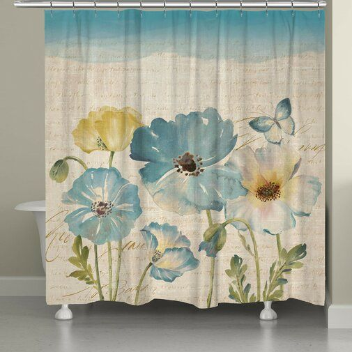 "One Pottery Barn Shower Curtain 70""x70"" Blue Background Floral Design"
