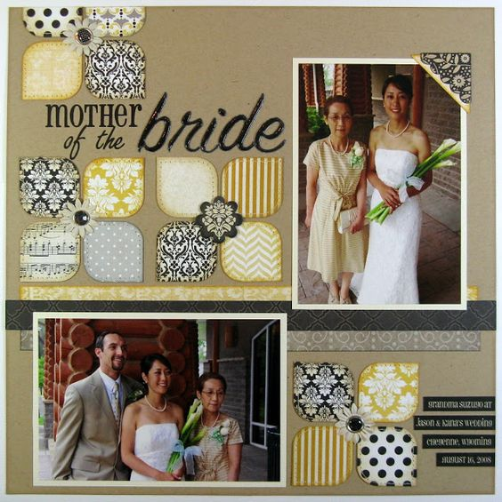 #papercraft #scrapbook #layout A Teresa Collins Wedding Layout by Mendi Yoshikawa.