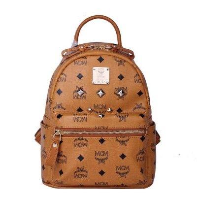 MCM Mini Stark Six Studded Backpack In Brown