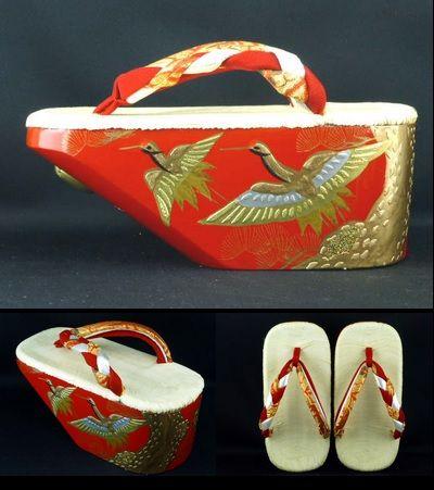 松鶴ぽっくり: lacquered wooden clogs with rounded soles for little girls in kimono,  pine and cranea