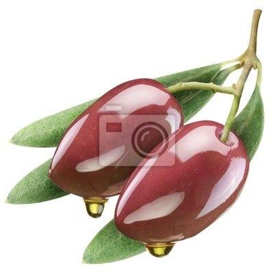 Tableau ou Poster Olives de feuilles sur fond blanc