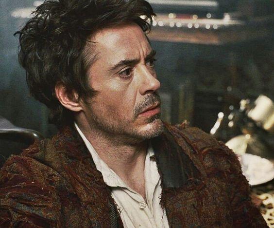 RDJ looking scruffy as Sherlock Holmes