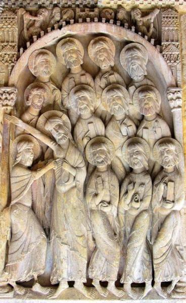 Duda de Santo Tomás, Relieve Románico S. XI - Claustro de Santo Domingo de Silos, Primer Taller Silense, Escultura Románica