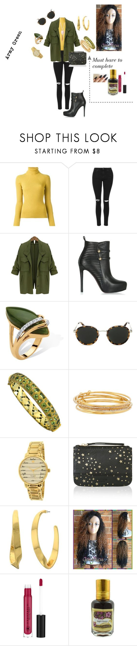 """""""Army Green Jacket"""" by constance-dangerfield on Polyvore featuring 3.1 Phillip Lim, Topshop, Palm Beach Jewelry, Taylor Morris, Divya Diamond, Kate Spade, Accessorize, Lauren Ralph Lauren and Anastasia Beverly Hills"""