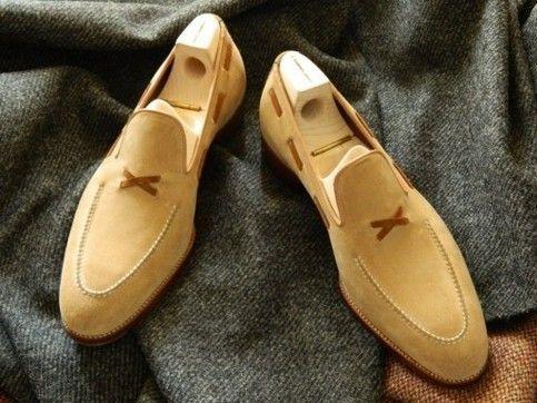 Handmade Men S Beige Color Suede Dress Slip On Loafers Shoes Description Material Suede Sole Leather Shoes Men Dress Shoes Men Mens Leather Loafers