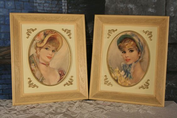Vintage Victorian Ladies Pair Framed Pictures Plaques French Shabby Chic by sisoftmoonVintage on Etsy